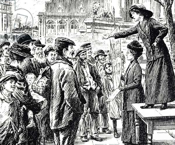 Cartoon commenting on the women's suffrage movement - a suffragette addressing a London crowd, 20th century