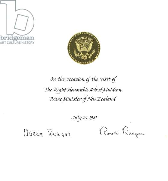 A certificate commemorating Prime Minister Robert Muldoon's visit with President Ronald Reagan and First Lady Nancy Reagan