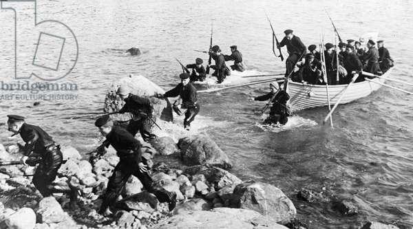 Soviet Seamen of the Baltic Fleet Landing a Detachment on an Enemy Island, September 1941.
