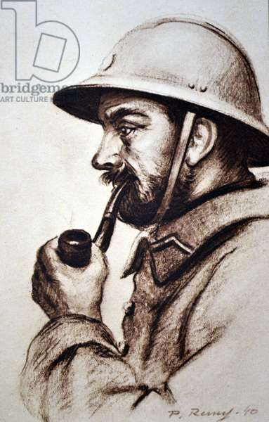 World War Two: French army soldier. Drawing by P Remy 1940