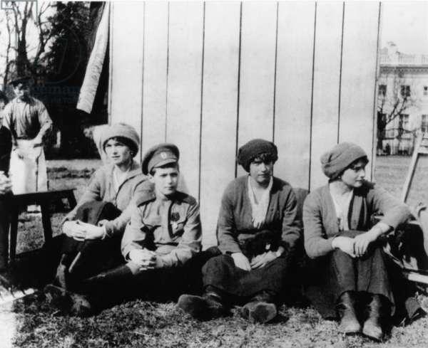 Children of Russian Tsar Nicholas Ll, Left to Right: Olga, Alexei, Anastasia, and Tatiana, Tsarskoye Selo, May 1917.