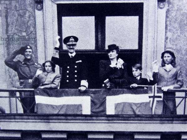 King Haakon, Crown Princess Martha, Prince Olav, Princess Ragnhild, princess Astrid and Prince Harald of Norway, 1945