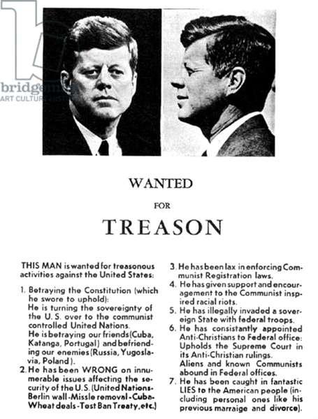 JFK Treason Poster (b/w photo)