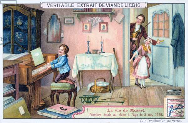 Wolfgang Amadeus Mozart (1756-1791), in 1759 (1906). Mozart's first attempt, at the age of three, to play the piano. In the doorway his sister Nannerl and his father Leopold look on. . From La Vie de Mozart (The Life of Mozart), Liebig Trade Card.
