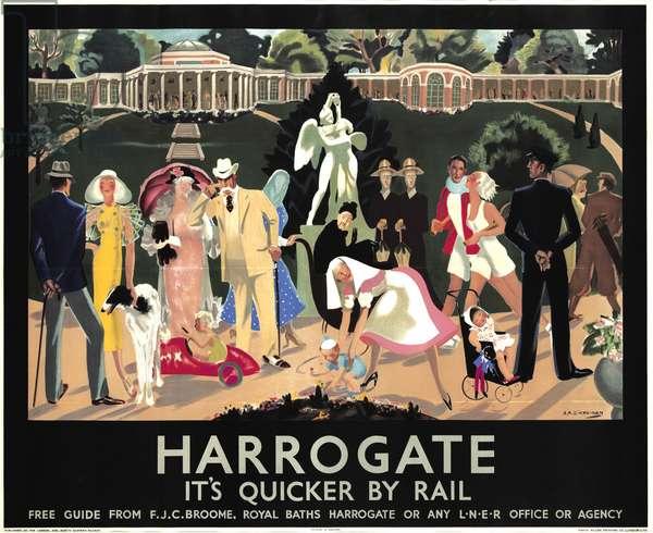 'Harrogate, It's Quicker by Rail', travel poster, 1935 (colour litho)