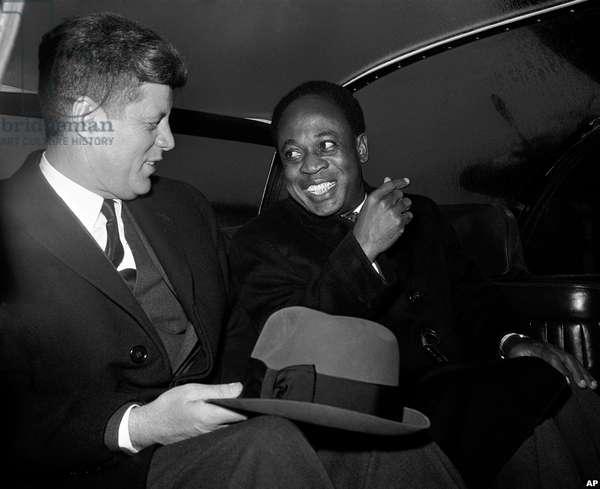 US President John Kennedy with Kwame Nkrumah, President of Ghana.