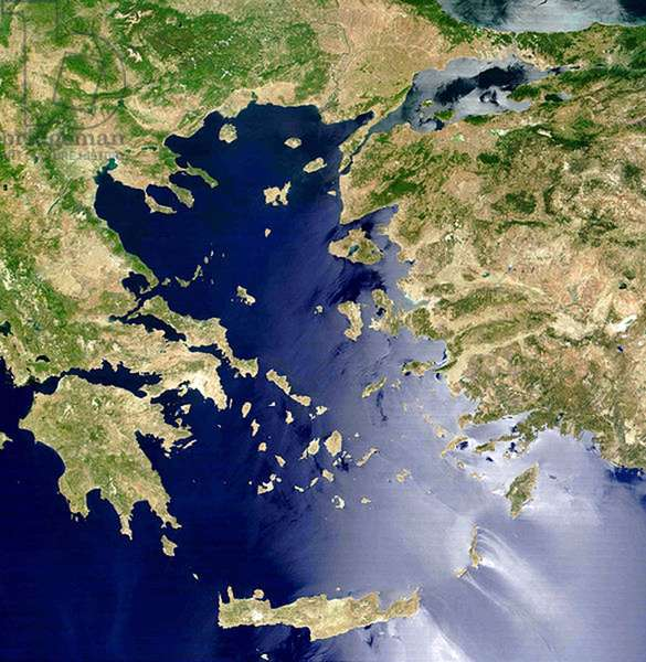 Satellite view of the Aegean Sea: Crete is island at centre bottom. NASA image. Science