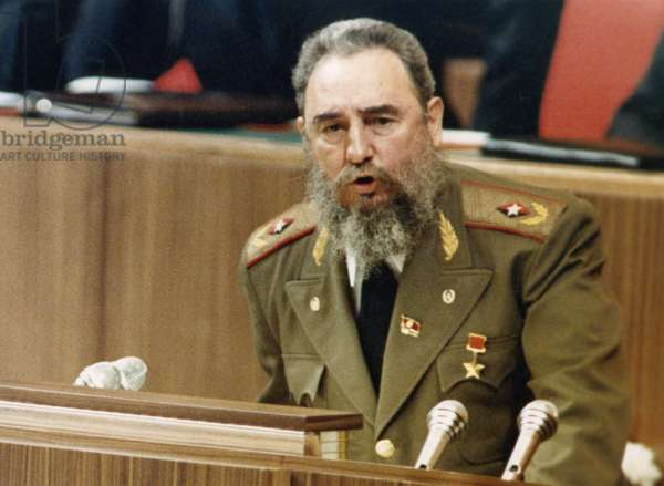 Fidel Castro, First Secretary O F the Communist Party of Cuba, Speaks to Delegates at the 27Th Congress of the Cpsu, Moscow, USSR, 1986.