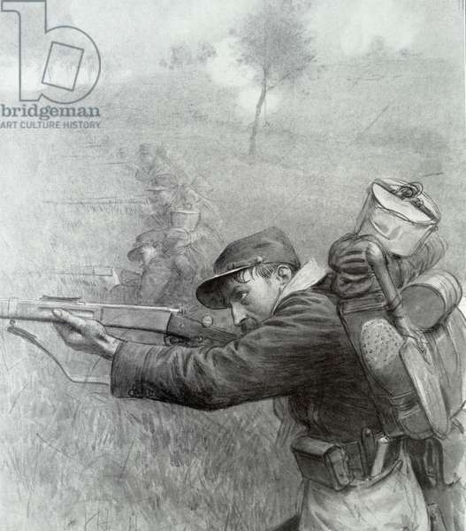 A french World War One soldier, 1916 (engraving)