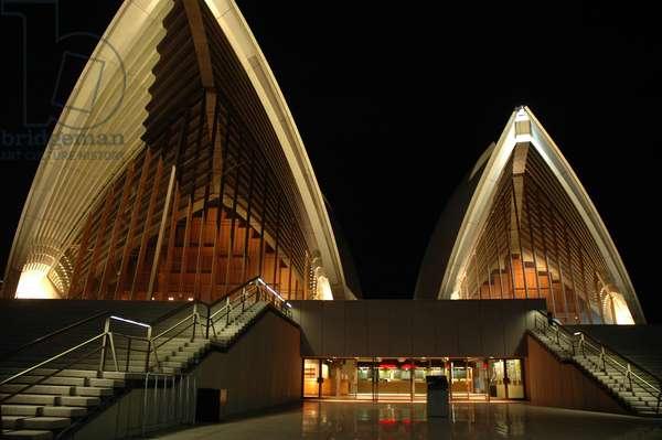 Australia, Sydney, Sydney Opera House entrance, night