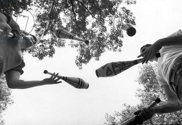 Jugglers With Indian Clubs, 1971 (b/w photo)