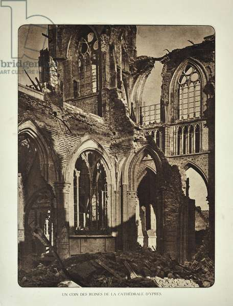 Ruined cathedral at Ypres after bombardment in Flanders during the First World War, Belgium ©UIG/Leemage