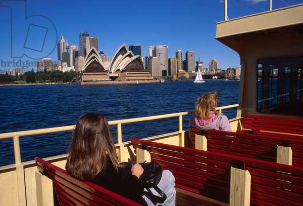 Australia, Sydney. Harbor Ferry With Opera House In Background.