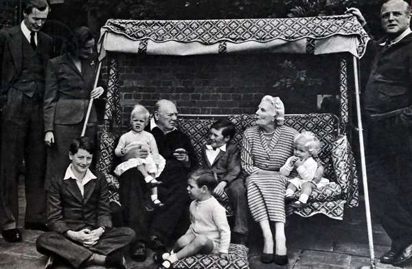 Sir Winston and lady Clementine Churchill with grandchildren, 1951