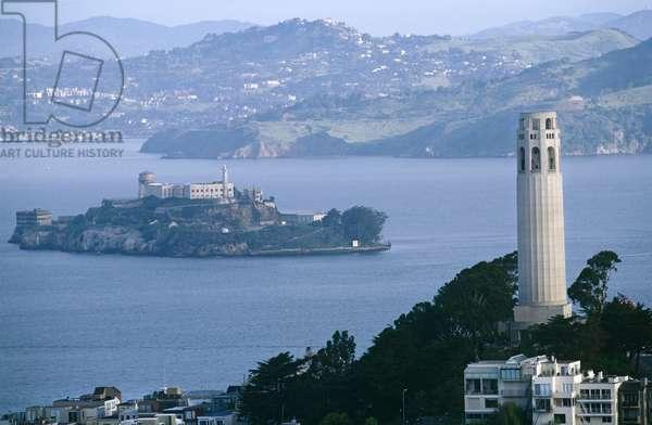 Coit Tower and Alcatraz Island, San Francisco, California, North America (photo)