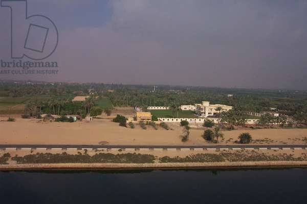 Walled residence with Palm Trees along the Suez Canal, Egypt