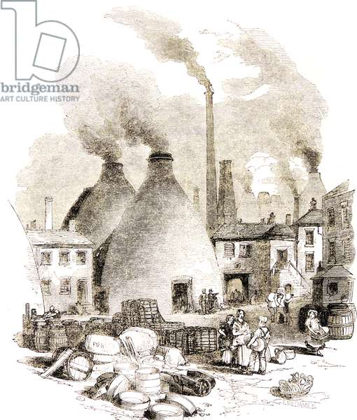 Copeland's factory at Stoke-on-Trent (The Potteries), Staffordshire, England.. 'The Bank', showing the bottle kilns and the pollution from smoking chimneys. Engraving, London, 1860.