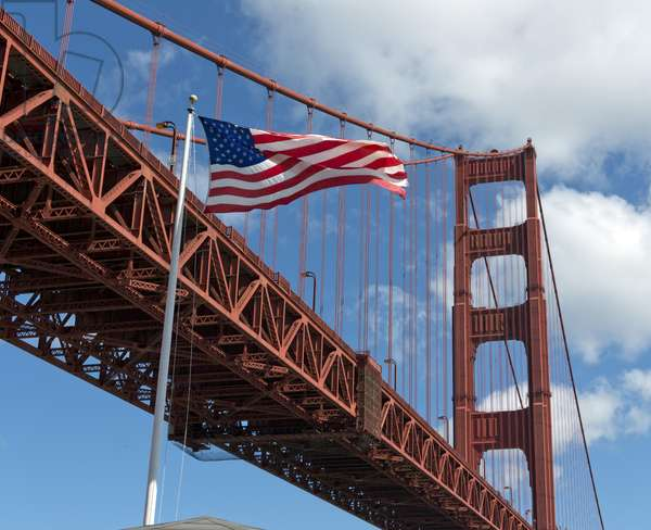 Old Glory Flies by the Golden Gate Bridge (photo)