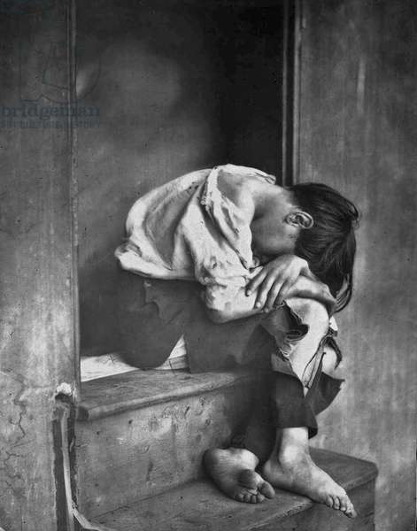 """Oscar Gustave Rejlander (1813 – 1875).  Poor Jo"""" depicts a  boy from the local Ragged School for the poor,"""