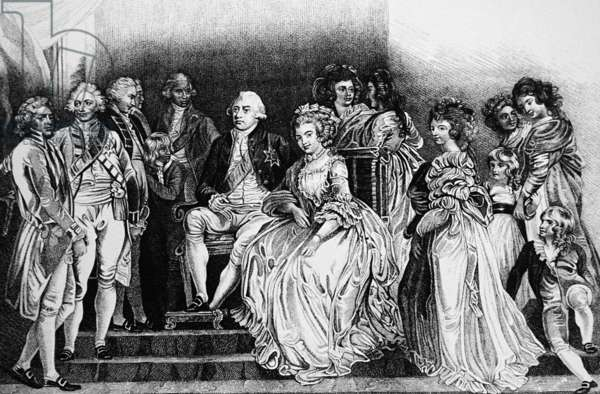 King George III with his Consort Charlotte Sophia and their family, 1850