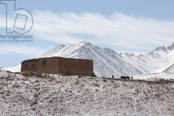 Mud House at the Hajigak Pass With the Koh-I-Baba Range as a backdrop, Vardak Province, Afghanistan (photo)