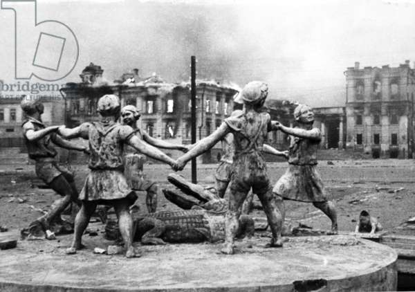 Famous Statue on the Railroad Terminal Square of Stalingrad after a Fasicist Air-Raid.