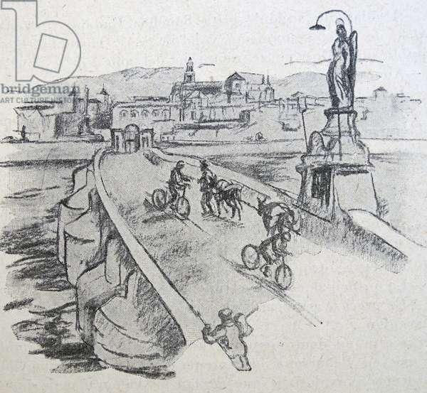 Contemporary illustration showing republican militia crossing a bridge