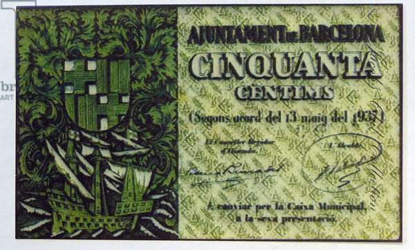 50 Centimes banknote issued by the Republican Government during the Spanish Civil War, 1950s