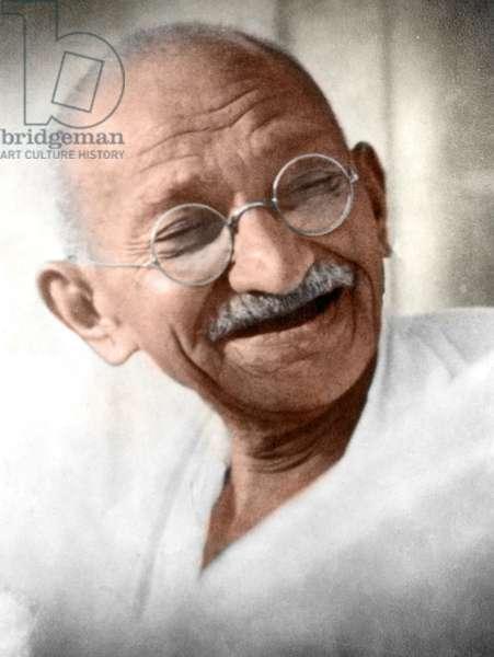 Mohandas Karamchand Gandhi dit Mahatma Gandhi (1869-1948), leader politique et spirituel indien, vers 1936 - Mahatma Gandhi, c. 1936. ©Dinodia/Uig/Leemage