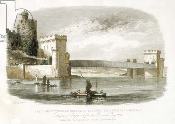 Conwy (Conway) Tubular Bridge on Chester and Holyhead Railway. From The British Gazeteer, London, 1852. Engineer Robert Stephenson. Box girder design which was later used in the longer Britannia bridge across the Menai Straits. Engraving.