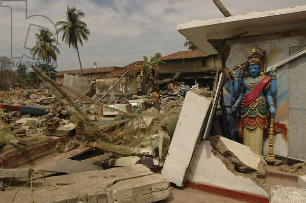 A Hindu temple damaged by tsunami near the port in Galle city. Southern Sri Lanka.  (photo)
