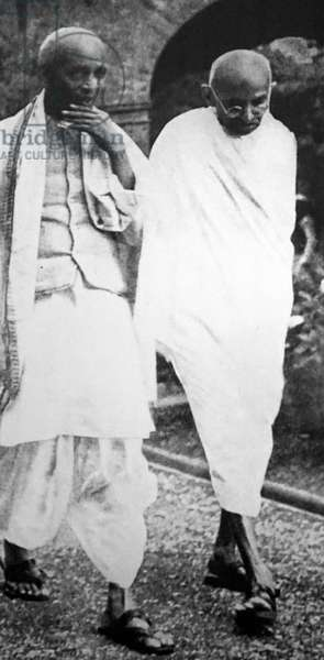 Sardar Patel with Mahatma Gandhi during a congress meeting, 1945