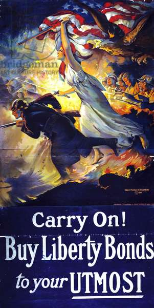 American World War I poster 'Carry on Buy Liberty Bonds' 1917