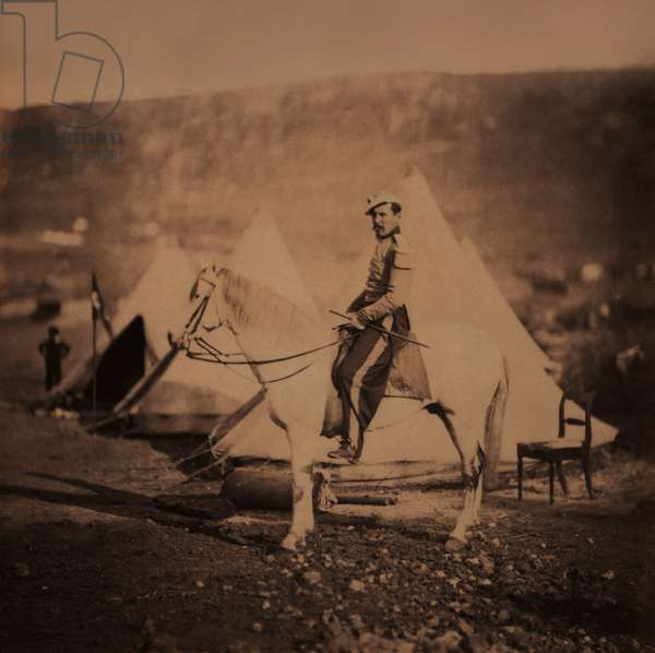 Chasseur d'Afrique, Mounted French Infantry Officer in Uniform, Crimean War, Crimea, Ukraine, 1855 (b/w photo)