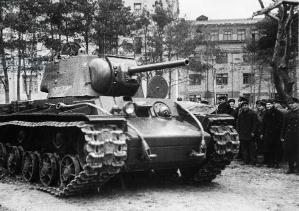 Kv-1 (Klement Voroshilov) Tank, a Group of Civilians and Red Army Men Watch a New Kv-1 Tank that has Just Left the Factory and Will Soon Be on Its Way to the Front, USSR, World War 2.