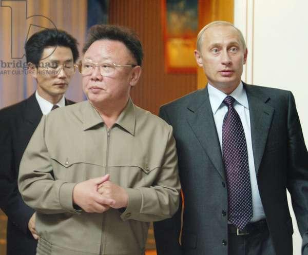 Vladivostok, Russia, August 23 2002: President Vladimir Putin (R) and Visiting North Korean Leader Kim Jong-Il Seen after their Meeting in Vladivostok on Friday.