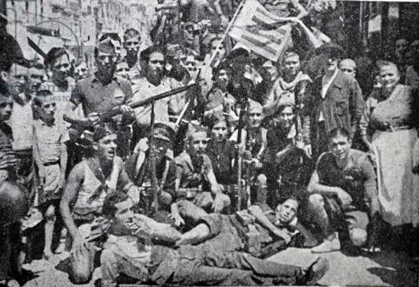 Republican militia soldiers in Madrid during the Spanish Civil War