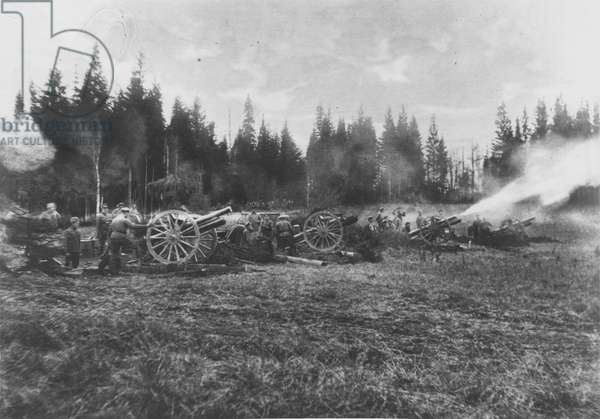 Artillery in action at Kordon, 1914 (b/w photo)