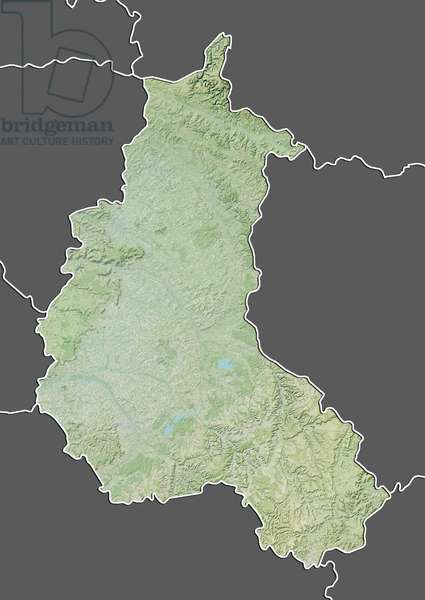 Region of Champagne-Ardenne, France, Relief Map