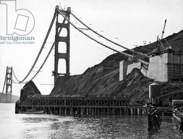 Golden Gate Bridge Work (b/w photo)