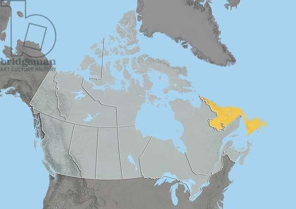 Province of Newfoundland and Labrador, Canada, Relief Map