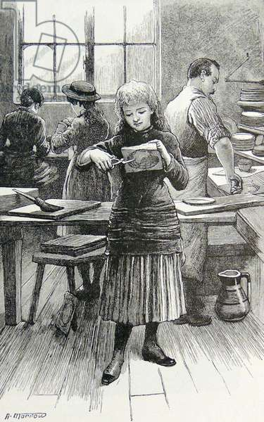 Girl cutting out and applying transfers to decorate table wares: Minton & Company's factory Stoke-on-Trent (The Potteries), Staffordshire, England. Engraving, London, 1885.