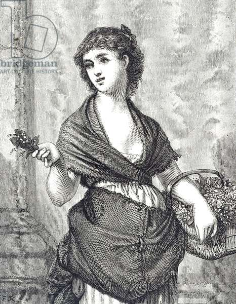 Engraving depicting a young woman selling lily-of-the-valley, 19th century