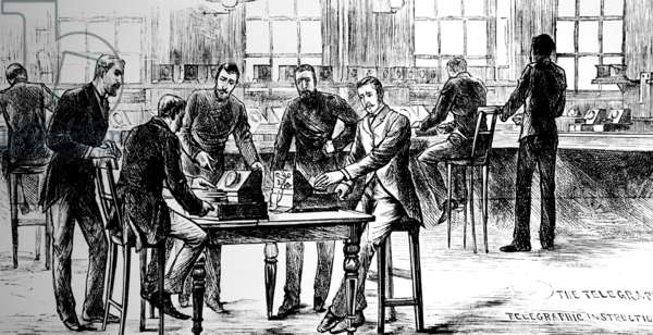 The telegraph room at Scotland Yard, 1883