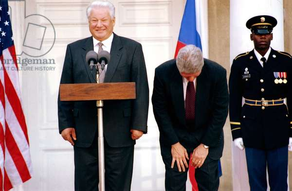 Bill Clinton Laughing With Boris Yeltsin In New York