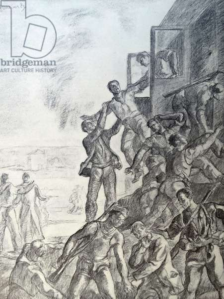 Propaganda illustration depicting Nationalist soldiers seizing a Republican train