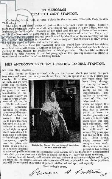 Elizabeth Cady Stanton, Susan B Anthony memories