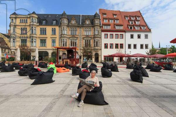 Open air library on the Market Square, Zwickau, Saxony, Germany (photo)
