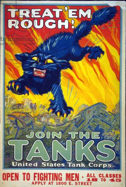 """Treat 'Em Rough! Join the Tanks"", 1917 (colour litho)"
