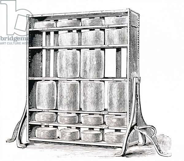 A revolving cheese rack for maturing cheeses